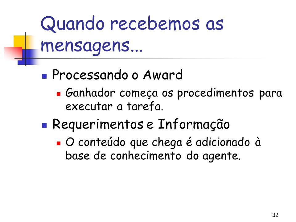32 Quando recebemos as mensagens... Processando o Award Ganhador começa os procedimentos para executar a tarefa. Requerimentos e Informação O conteúdo