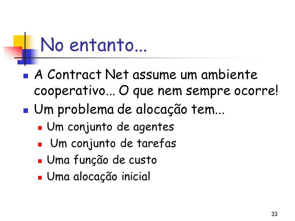33 No entanto... A Contract Net assume um ambiente cooperativo... O que nem sempre ocorre! Um problema de alocação tem... Um conjunto de agentes Um co