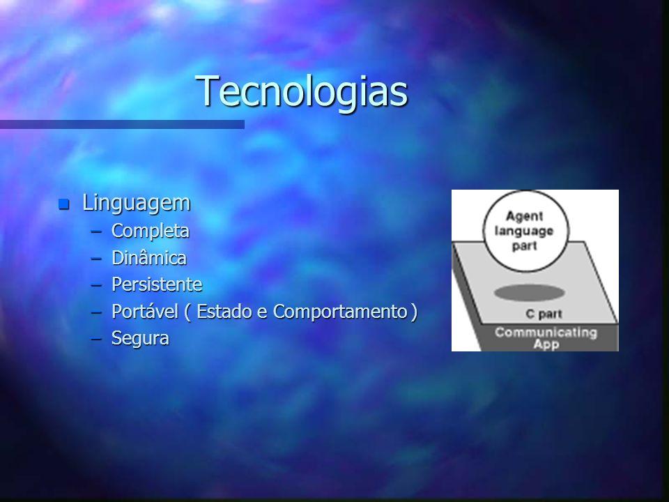 Tecnologias Plataforma que fornece aos agentes a capacidade de mover-se livre e facilmente sem afetar sua execução, utilizando várias L.P., em ambientes heterogêneos e de forma segura.