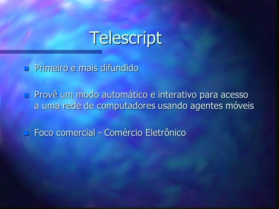 Tecnologias n Ambientes para construção de agentes móveis –Telescript –Agent TCL –Agents for Remote Access (ARA) –Aglets