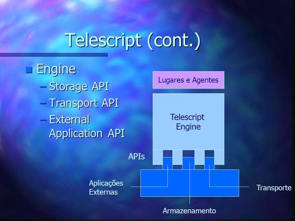 Telescript (cont.) n Linguagem (Telescript Language) –Completa –OO –Dinâmica –Persistente –Portável e Segura –Communication Centric n Comandos Básicos