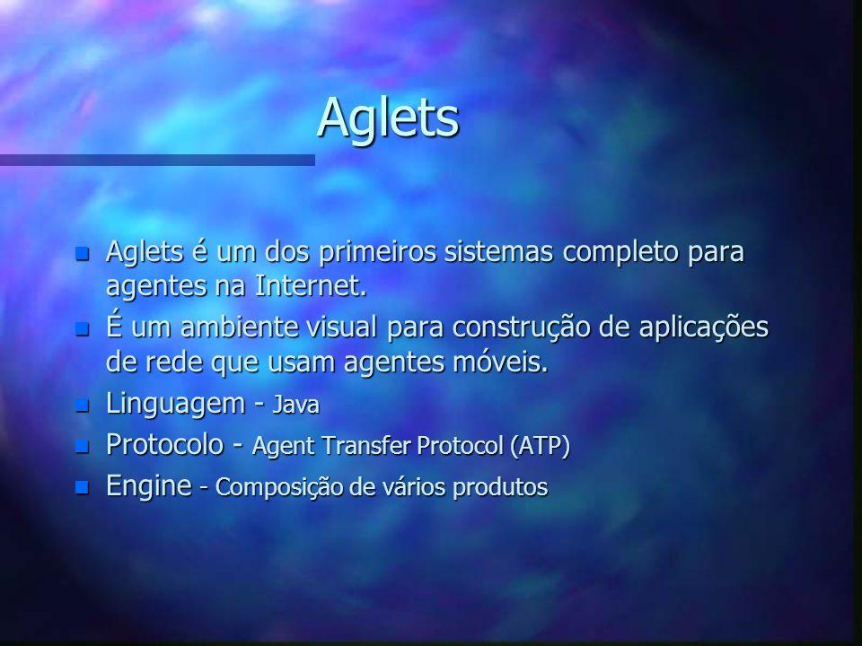 Telescript (cont.) n Protocolo –TCP/IP –X.25 –SMTP Lugares e Agentes Telescript Engine APIs Aplicações Externas Armazenamento Agente de Transporte Age