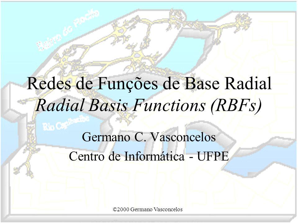 ©2000 Germano Vasconcelos Redes de Funções de Base Radial Radial Basis Functions (RBFs) Germano C. Vasconcelos Centro de Informática - UFPE