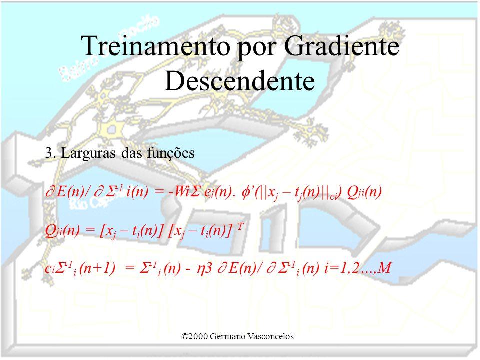 ©2000 Germano Vasconcelos Treinamento por Gradiente Descendente 3. Larguras das funções E(n)/ -1 i(n) = -Wi e j (n). (||x j – t j (n)|| ci ) Q ji (n)