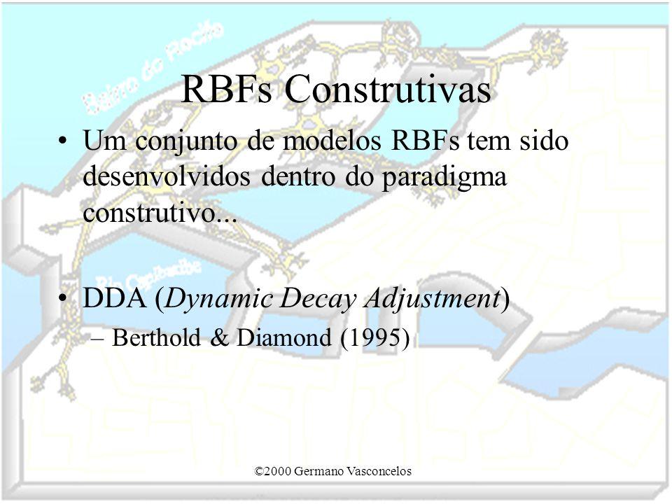 ©2000 Germano Vasconcelos RBFs Construtivas Um conjunto de modelos RBFs tem sido desenvolvidos dentro do paradigma construtivo... DDA (Dynamic Decay A