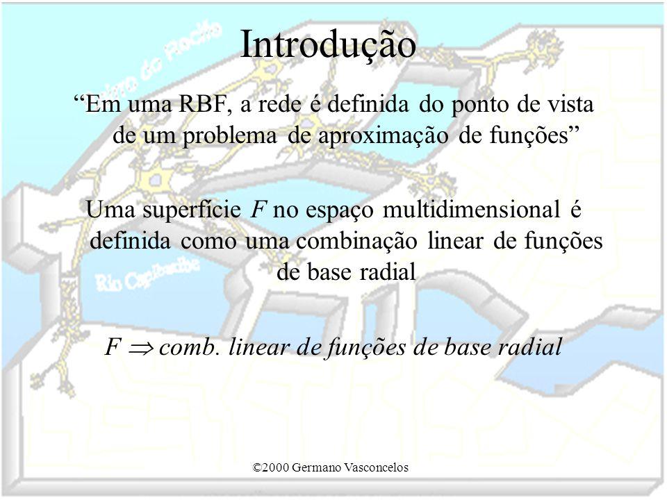 ©2000 Germano Vasconcelos Introdução Em uma RBF, a rede é definida do ponto de vista de um problema de aproximação de funções Uma superfície F no espa