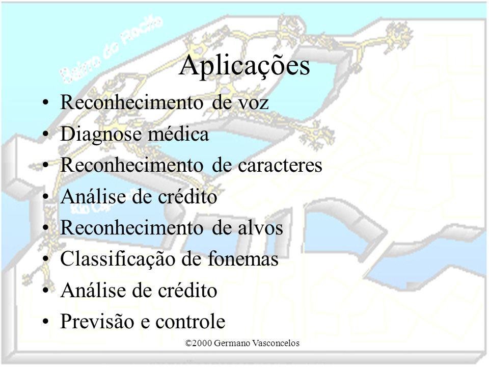 ©2000 Germano Vasconcelos Aplicações Reconhecimento de voz Diagnose médica Reconhecimento de caracteres Análise de crédito Reconhecimento de alvos Cla