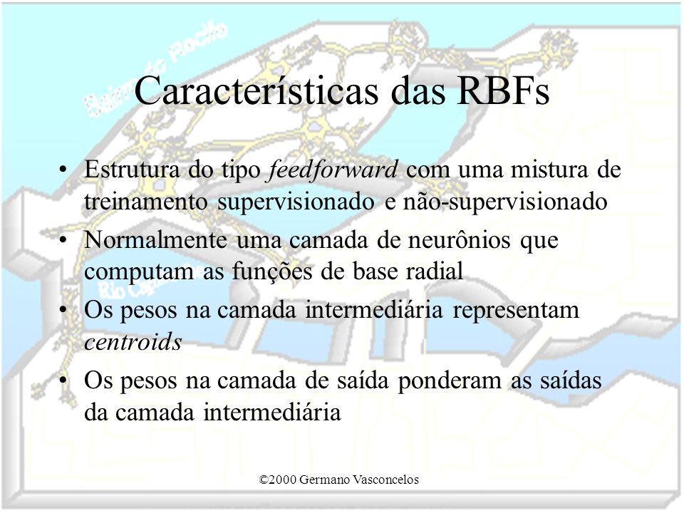 ©2000 Germano Vasconcelos Características das RBFs Estrutura do tipo feedforward com uma mistura de treinamento supervisionado e não-supervisionado No