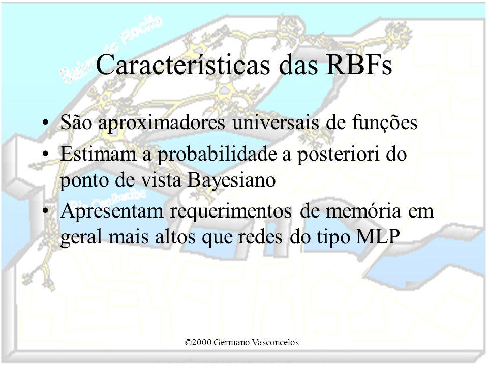 ©2000 Germano Vasconcelos Características das RBFs São aproximadores universais de funções Estimam a probabilidade a posteriori do ponto de vista Baye