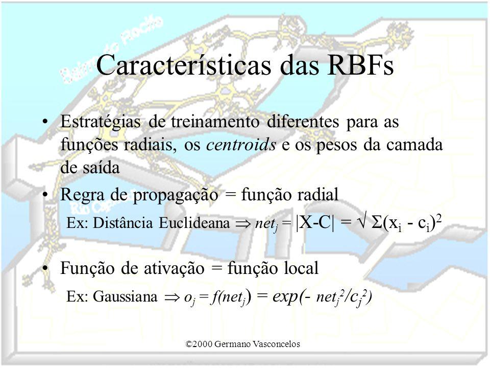 ©2000 Germano Vasconcelos Características das RBFs Estratégias de treinamento diferentes para as funções radiais, os centroids e os pesos da camada de