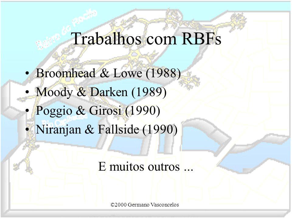 ©2000 Germano Vasconcelos Trabalhos com RBFs Broomhead & Lowe (1988) Moody & Darken (1989) Poggio & Girosi (1990) Niranjan & Fallside (1990) E muitos