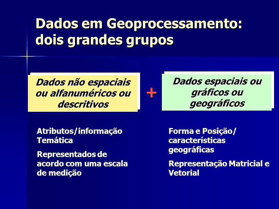 Dados Cadastrais: Exemplo Dados Cadastrais: Exemplo Dados espaciais: Representação Vetorial Dados em Geoprocessamento