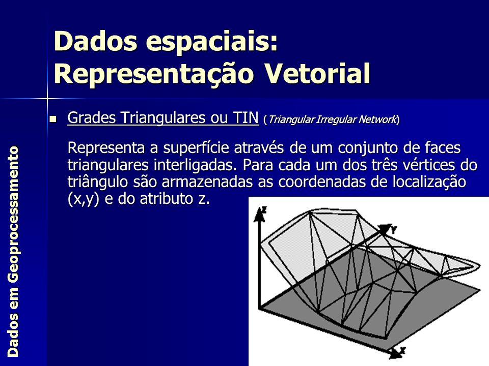 Grades Triangulares ou TIN (Triangular Irregular Network) Grades Triangulares ou TIN (Triangular Irregular Network) Representa a superfície através de