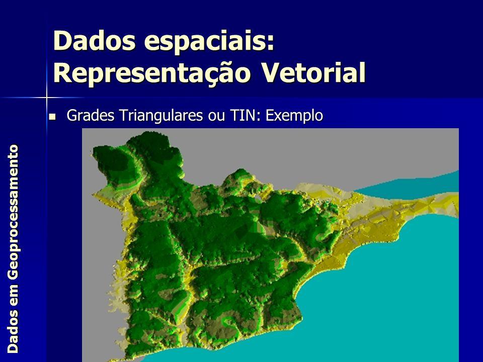Grades Triangulares ou TIN: Exemplo Grades Triangulares ou TIN: Exemplo Dados espaciais: Representação Vetorial Dados em Geoprocessamento