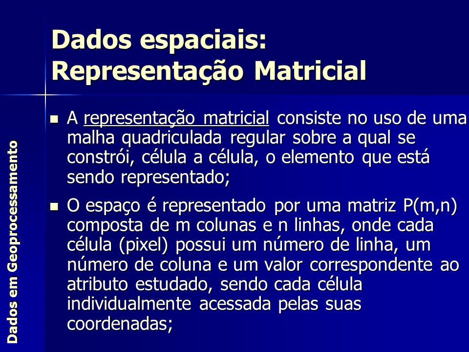 Dados espaciais: Representação Matricial A representação matricial consiste no uso de uma malha quadriculada regular sobre a qual se constrói, célula