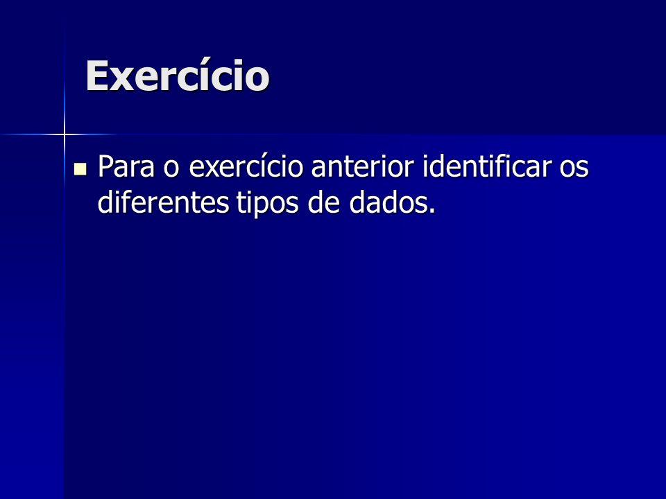 Exercício Para o exercício anterior identificar os diferentes tipos de dados. Para o exercício anterior identificar os diferentes tipos de dados.