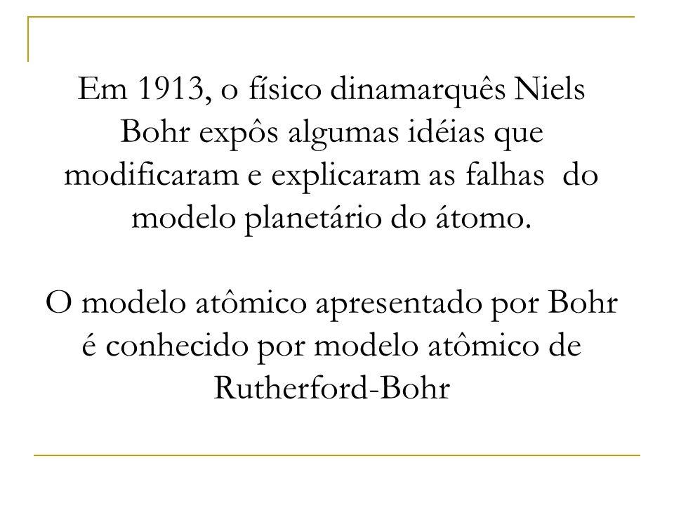 Em 1913, o físico dinamarquês Niels Bohr expôs algumas idéias que modificaram e explicaram as falhas do modelo planetário do átomo. O modelo atômico a