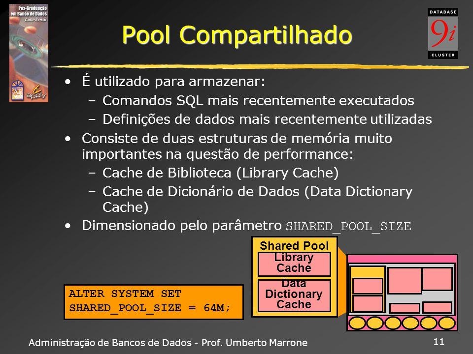 Administração de Bancos de Dados - Prof. Umberto Marrone 11 Pool Compartilhado É utilizado para armazenar: –Comandos SQL mais recentemente executados