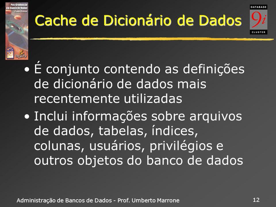 Administração de Bancos de Dados - Prof. Umberto Marrone 12 Cache de Dicionário de Dados É conjunto contendo as definições de dicionário de dados mais