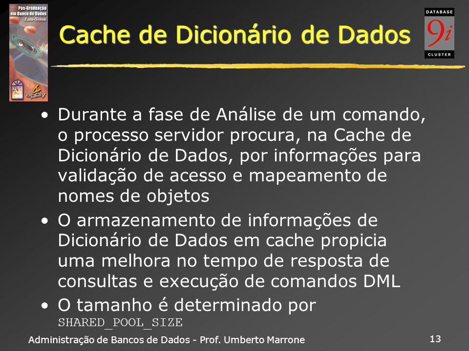 Administração de Bancos de Dados - Prof. Umberto Marrone 13 Cache de Dicionário de Dados Durante a fase de Análise de um comando, o processo servidor