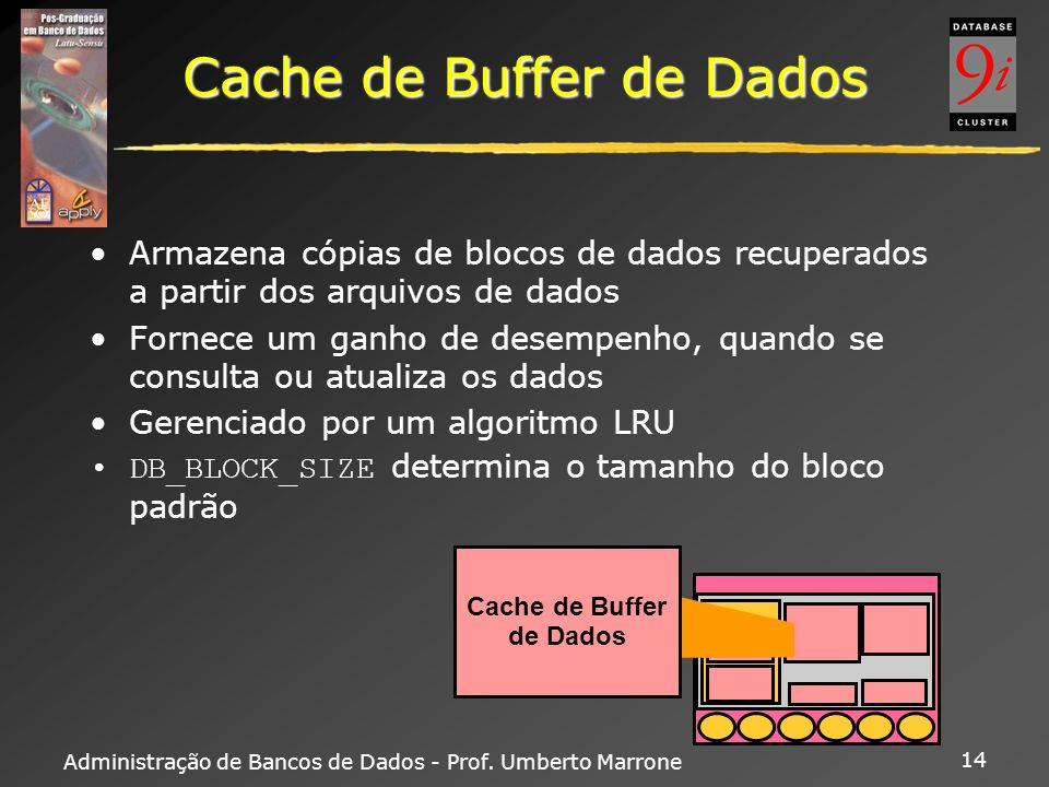 Administração de Bancos de Dados - Prof. Umberto Marrone 14 Cache de Buffer de Dados Armazena cópias de blocos de dados recuperados a partir dos arqui