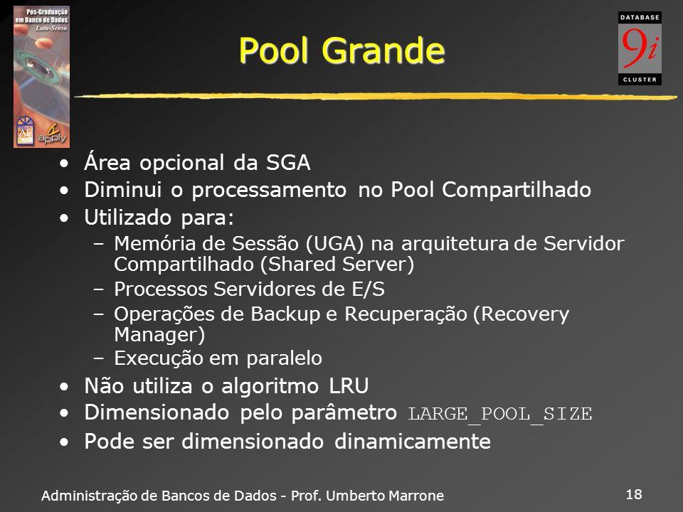 Administração de Bancos de Dados - Prof. Umberto Marrone 18 Pool Grande Área opcional da SGA Diminui o processamento no Pool Compartilhado Utilizado p