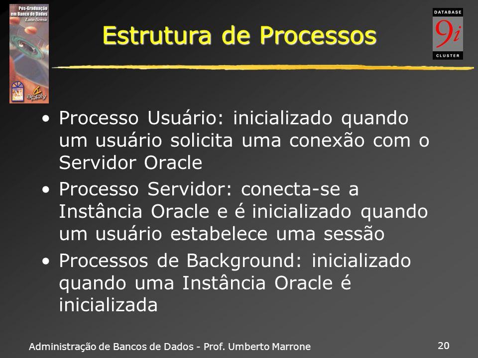 Administração de Bancos de Dados - Prof. Umberto Marrone 20 Estrutura de Processos Processo Usuário: inicializado quando um usuário solicita uma conex