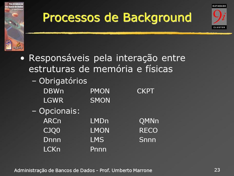 Administração de Bancos de Dados - Prof. Umberto Marrone 23 Processos de Background Responsáveis pela interação entre estruturas de memória e físicas