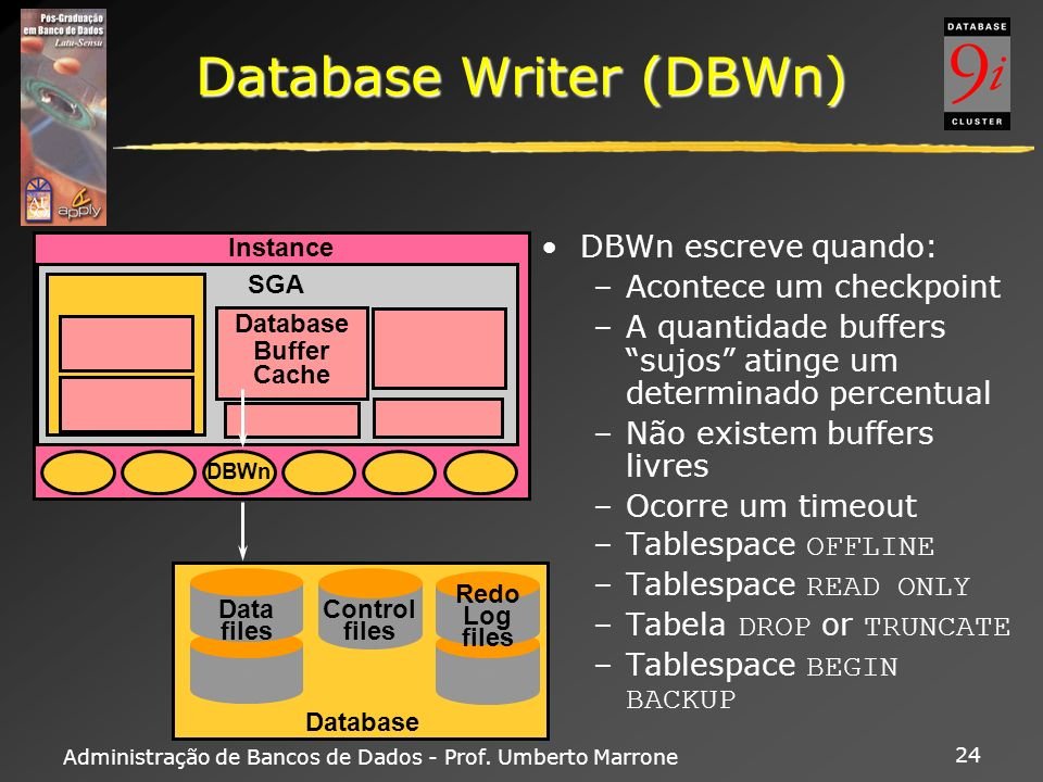 Administração de Bancos de Dados - Prof. Umberto Marrone 24 Database Writer (DBWn) DBWn escreve quando: –Acontece um checkpoint –A quantidade buffers