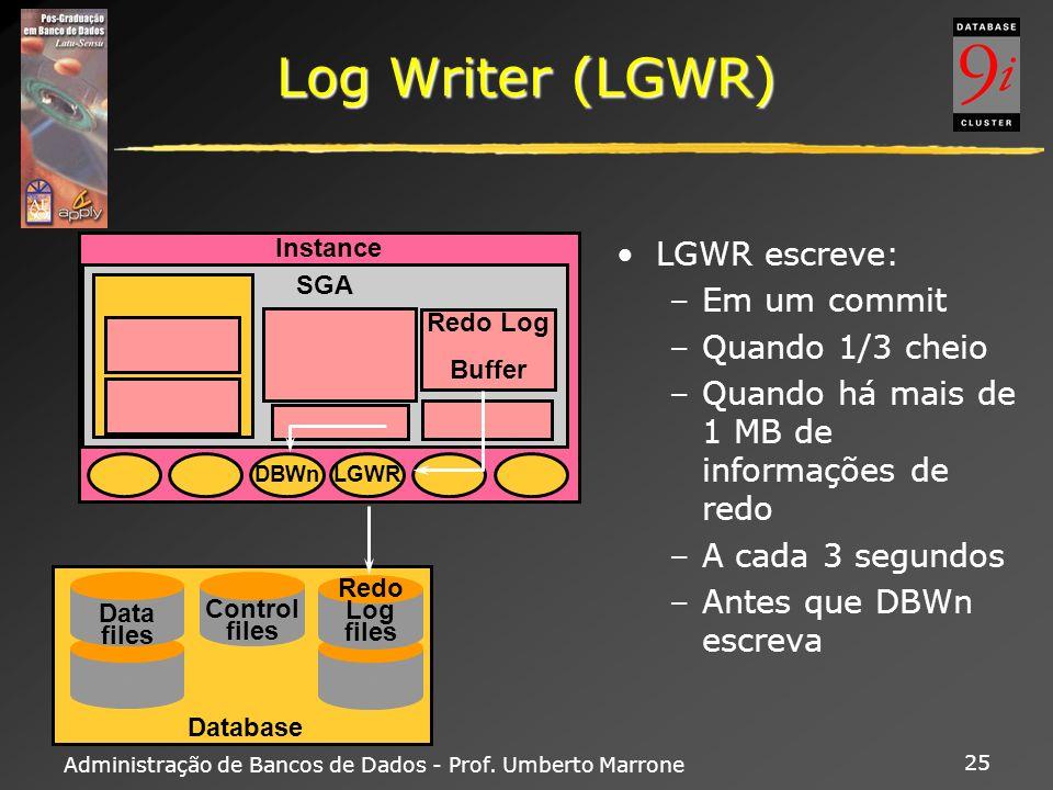 Administração de Bancos de Dados - Prof. Umberto Marrone 25 Log Writer (LGWR) LGWR escreve: –Em um commit –Quando 1/3 cheio –Quando há mais de 1 MB de