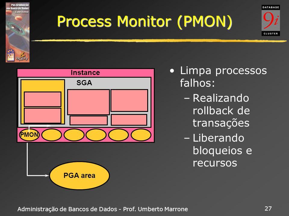 Administração de Bancos de Dados - Prof. Umberto Marrone 27 Process Monitor (PMON) Limpa processos falhos: –Realizando rollback de transações –Liberan