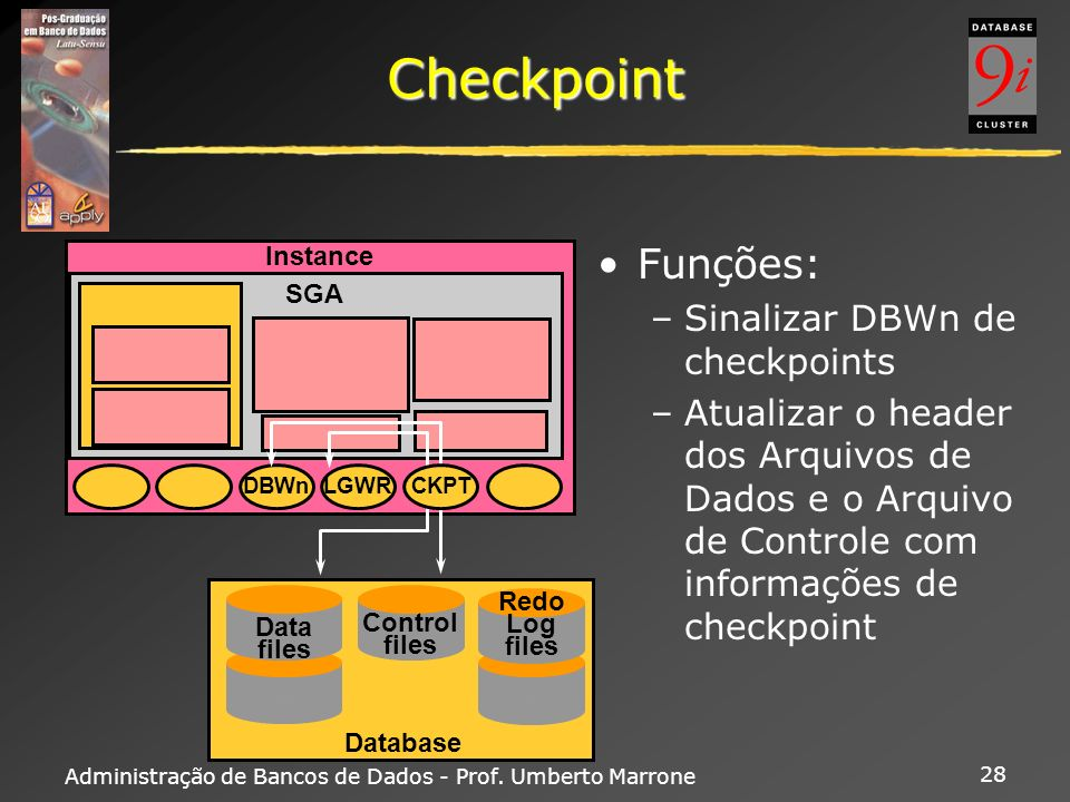 Administração de Bancos de Dados - Prof. Umberto Marrone 28 Checkpoint Funções: –Sinalizar DBWn de checkpoints –Atualizar o header dos Arquivos de Dad