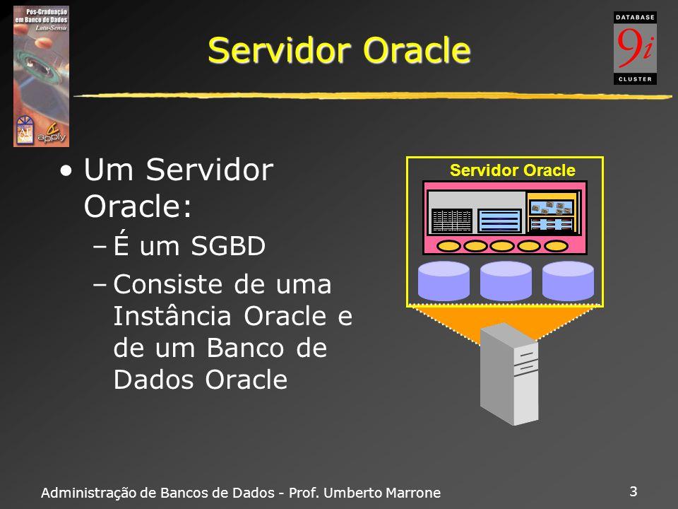 Administração de Bancos de Dados - Prof. Umberto Marrone 3 Servidor Oracle Um Servidor Oracle: –É um SGBD –Consiste de uma Instância Oracle e de um Ba