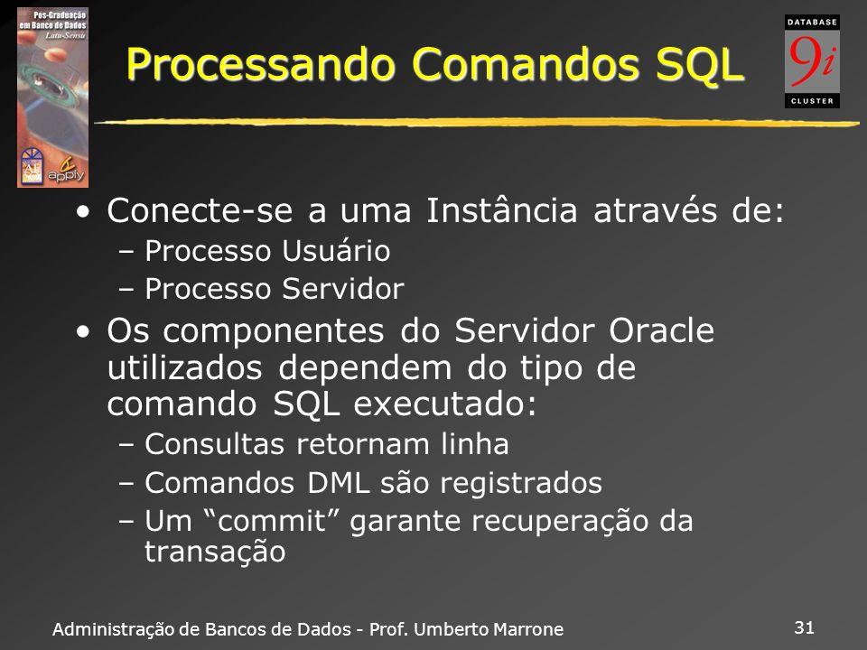 Administração de Bancos de Dados - Prof. Umberto Marrone 31 Processando Comandos SQL Conecte-se a uma Instância através de: –Processo Usuário –Process