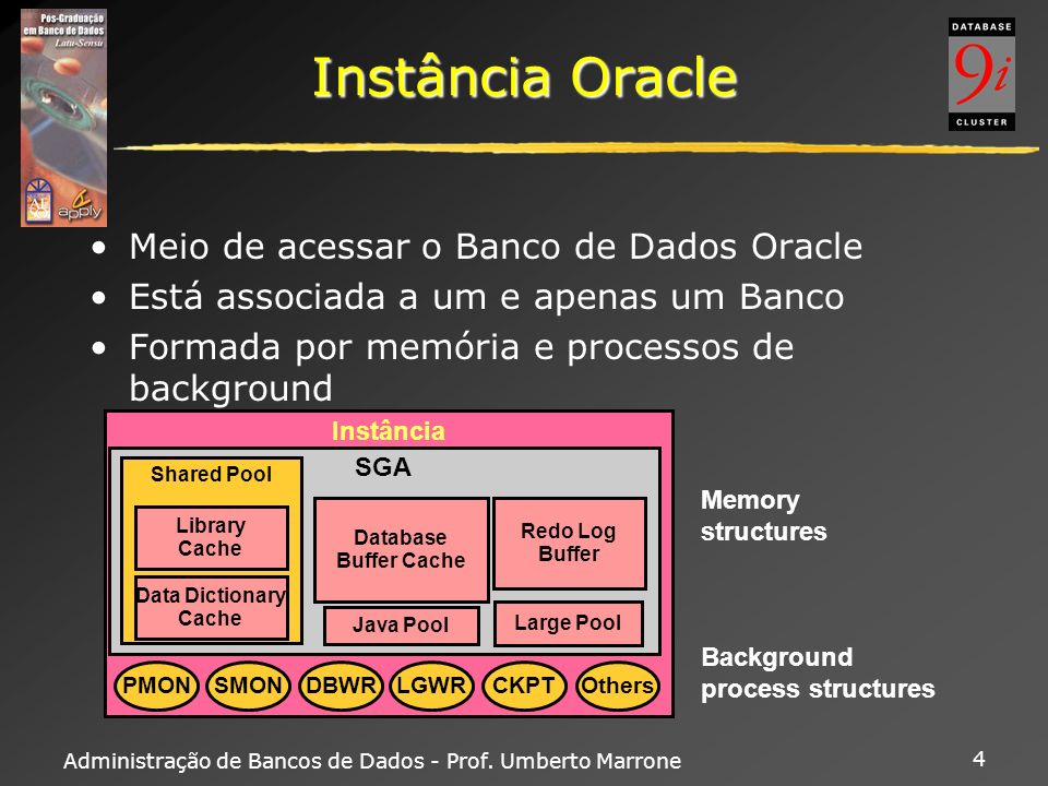 Administração de Bancos de Dados - Prof. Umberto Marrone 4 Instância Oracle Meio de acessar o Banco de Dados Oracle Está associada a um e apenas um Ba