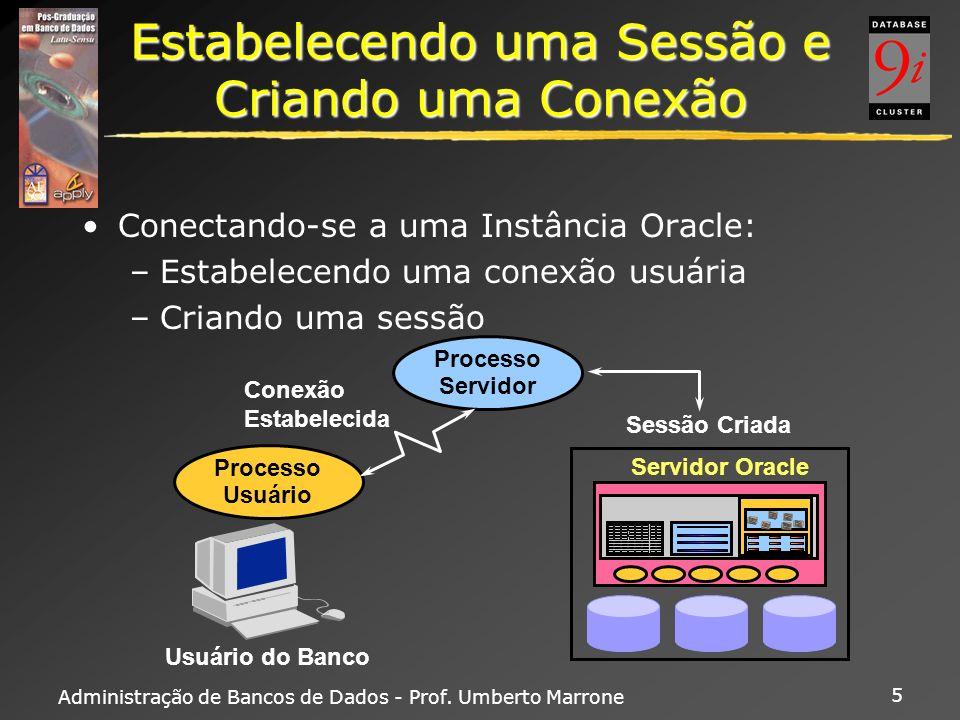Administração de Bancos de Dados - Prof. Umberto Marrone 5 Estabelecendo uma Sessão e Criando uma Conexão Conectando-se a uma Instância Oracle: –Estab