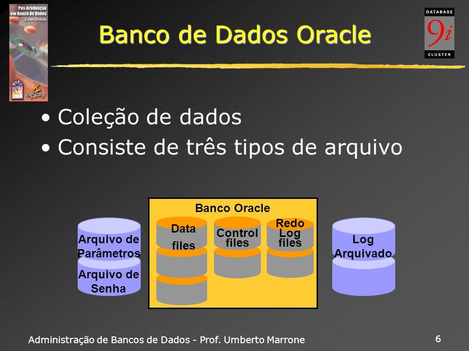 Administração de Bancos de Dados - Prof. Umberto Marrone 6 Banco de Dados Oracle Coleção de dados Consiste de três tipos de arquivo Arquivo de Senha A