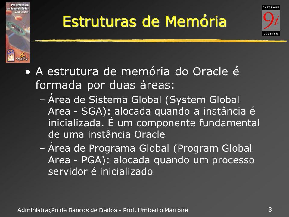Administração de Bancos de Dados - Prof. Umberto Marrone 8 Estruturas de Memória A estrutura de memória do Oracle é formada por duas áreas: –Área de S
