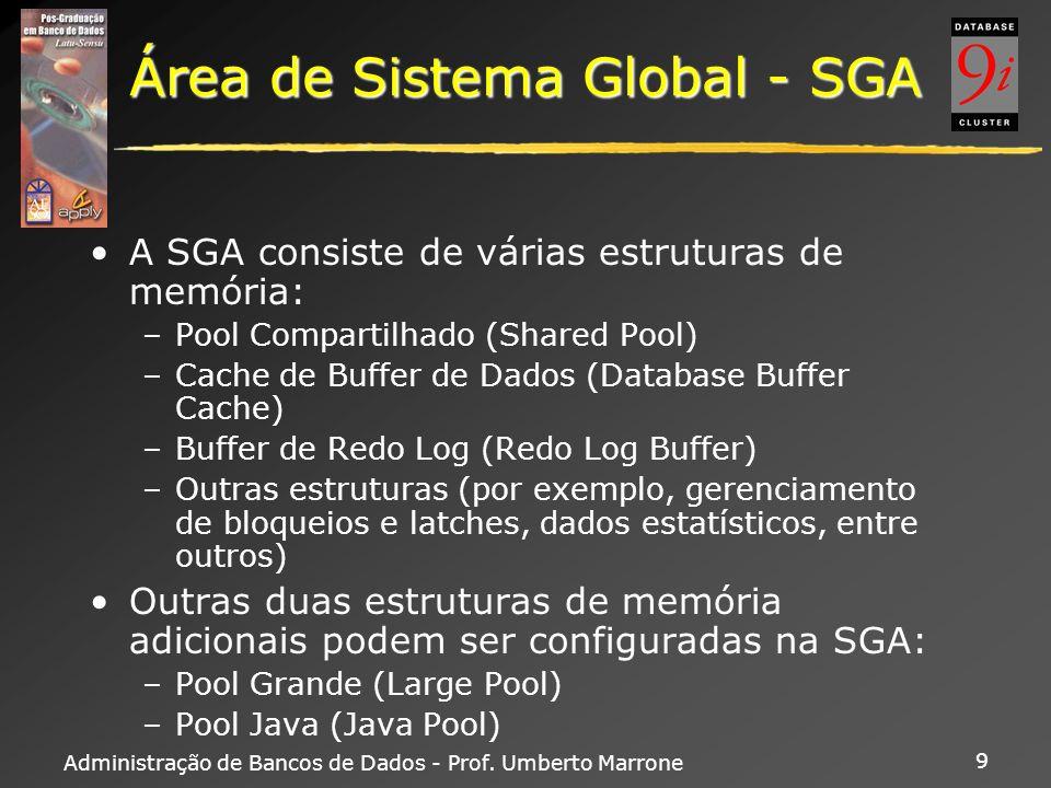 Administração de Bancos de Dados - Prof. Umberto Marrone 9 Área de Sistema Global - SGA A SGA consiste de várias estruturas de memória: –Pool Comparti