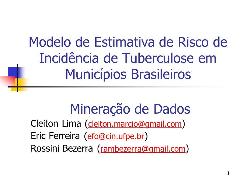 1 Modelo de Estimativa de Risco de Incidência de Tuberculose em Municípios Brasileiros Mineração de Dados Cleiton Lima ( cleiton.marcio@gmail.com ) cleiton.marcio@gmail.com Eric Ferreira ( efo@cin.ufpe.br ) efo@cin.ufpe.br Rossini Bezerra ( rambezerra@gmail.com ) rambezerra@gmail.com
