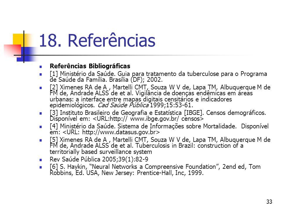 33 18.Referências Referências Bibliográficas [1] Ministério da Saúde.