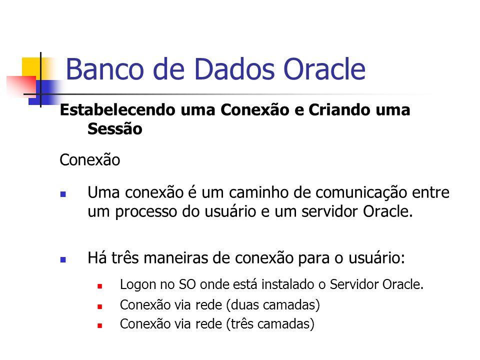 Banco de Dados Oracle Estabelecendo uma Conexão e Criando uma Sessão Conexão Uma conexão é um caminho de comunicação entre um processo do usuário e um