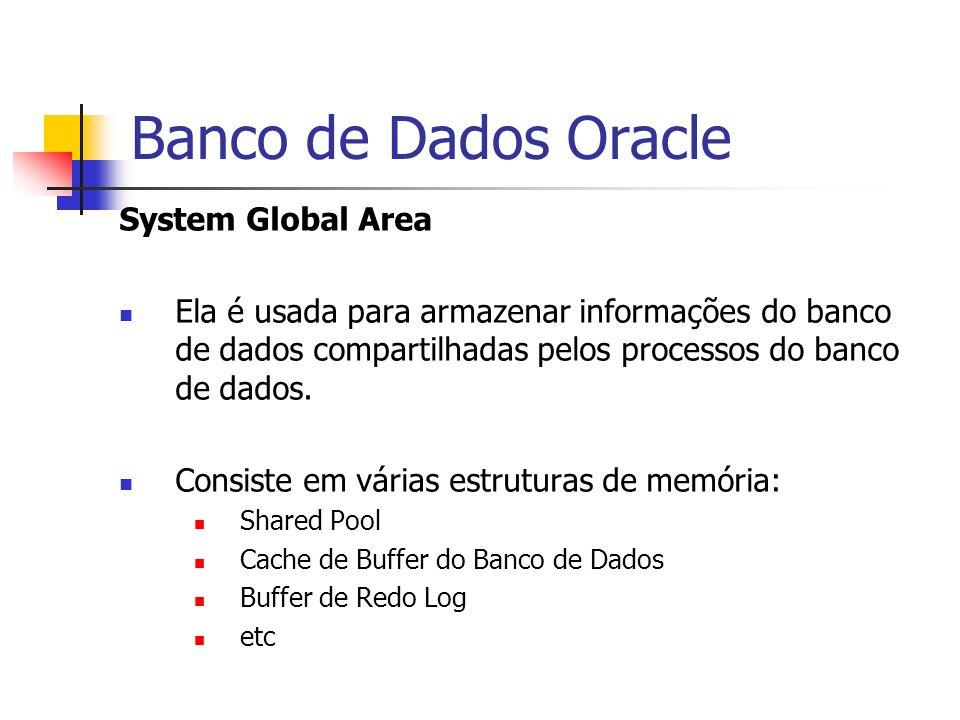 Banco de Dados Oracle System Global Area Ela é usada para armazenar informações do banco de dados compartilhadas pelos processos do banco de dados. Co