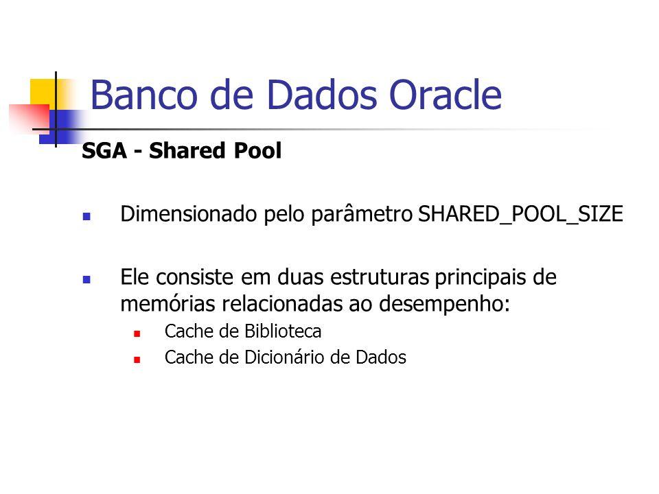 Banco de Dados Oracle SGA - Shared Pool Dimensionado pelo parâmetro SHARED_POOL_SIZE Ele consiste em duas estruturas principais de memórias relacionad
