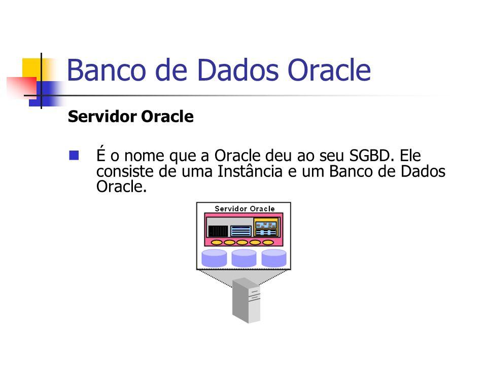 Banco de Dados Oracle Servidor Oracle É o nome que a Oracle deu ao seu SGBD. Ele consiste de uma Instância e um Banco de Dados Oracle.