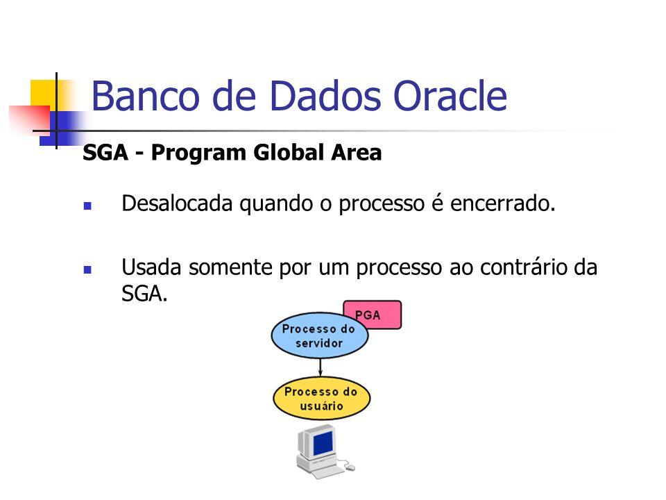 Banco de Dados Oracle SGA - Program Global Area Desalocada quando o processo é encerrado. Usada somente por um processo ao contrário da SGA.