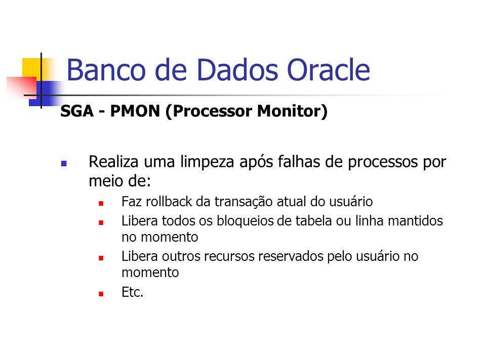 Banco de Dados Oracle SGA - PMON (Processor Monitor) Realiza uma limpeza após falhas de processos por meio de: Faz rollback da transação atual do usuá