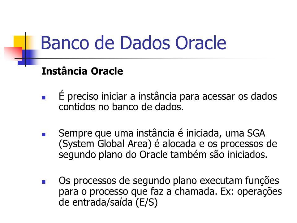 Banco de Dados Oracle SGA - PMON (Processor Monitor) Realiza uma limpeza após falhas de processos por meio de: Faz rollback da transação atual do usuário Libera todos os bloqueios de tabela ou linha mantidos no momento Libera outros recursos reservados pelo usuário no momento Etc.