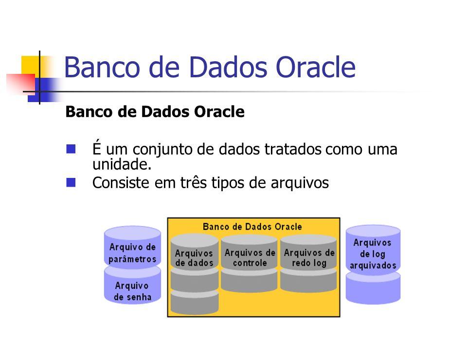 Banco de Dados Oracle Arquivos do Banco de Dados: Os arquivos de dados Contêm os dados reais do banco de dado Os arquivos de redo log on-line Contêm um registro das alterações feitas no banco de dados para permitir a recuperação dos dados em caso de falha Os arquivos de controle Contêm as informações necessárias para manter e verificar integridade do banco de dados