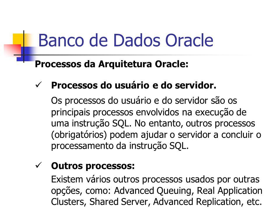 Banco de Dados Oracle Processos da Arquitetura Oracle: Processos do usuário e do servidor. Os processos do usuário e do servidor são os principais pro